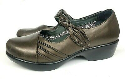 """Dansko 7.5-8 Strong Packing Womens 38 """"ainsley"""" Bronze Metallic Leather Mary Jane Clogs"""