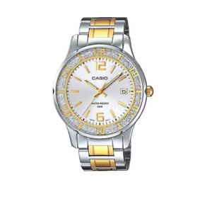 Casio-LTP1359SG-7AV-Women-039-s-Sprinkled-Bezel-Two-Tone-Gold-Metal-Fashion-Silver