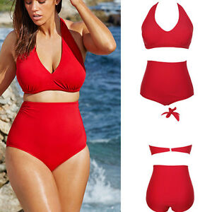 8be852fa99ede 4X US Plus Size Swimsuit High Waist bikini Set Swim 2 piece Halter ...