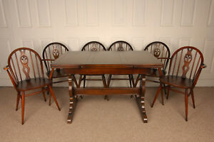 Vintage-Original-Ercol-Dining-Table-amp-Matching-set-of-Ercol-Fleur-de-Lys-Chairs