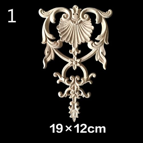 1X Rubber Wood Carved Applique Retro Furniture Craft Decor Door Home Multi Decal