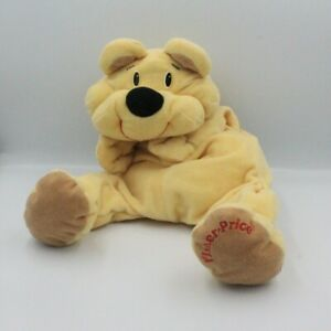 Ancienne-peluche-doudou-ours-vanille-jaune-Rumple-FISHER-PRICE-Vintage-Ours-Cl