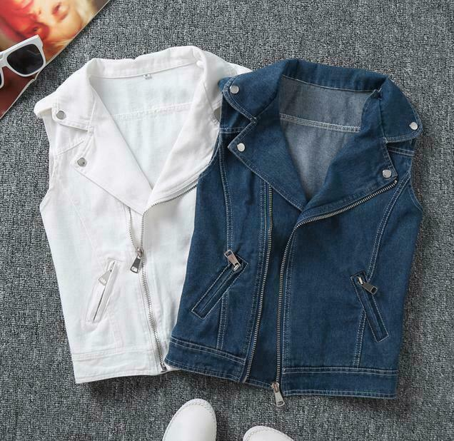 Ladies Denim Vest Sleeveless Jacket Coat Jeans Slim Fit Waistcoat Cowboy Plus Sz