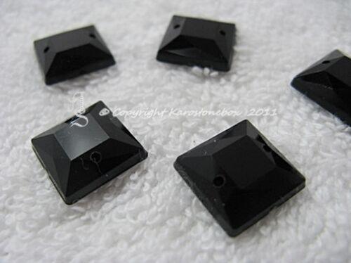 Aufnähsteine Strass Acryl Quadrat ca.12mm Schwarz  AAA Qualität Karostonebox