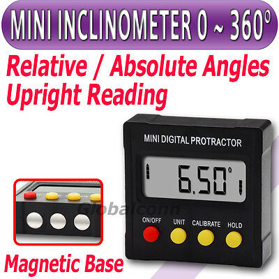 810-120 Mini 360˚ Inclinometer Protractor Upright Magnet Slope Angle Meter