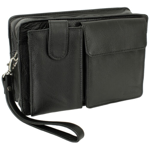 Business Hommes poignet sac hommes sac sac femmes sac en cuir noir