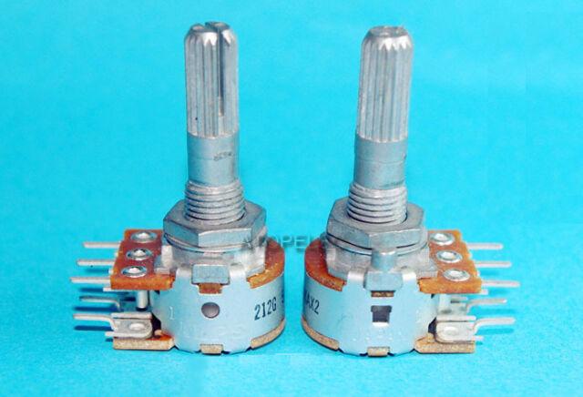 Japan ALPS RK16 50KAX2 LOG Stereo Volume Potentiometer Dual 50K Knurled Shaft