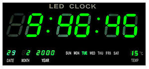 LED-Digital-Wanduhr-Digitaluhr-Quarzuhr-Datum-Temperatur-Bar-Cafe-Kiosk-XXL-Gruen
