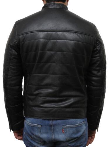 Brandslock Mens Genuine Leather Biker Jacket Bomber Vintage Puffed Winter Warm