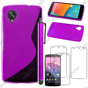 Housse-Etui-Coque-Silicone-S-line-Violet-LG-Nexus-5-E980-Stylet-3-Film-ecran