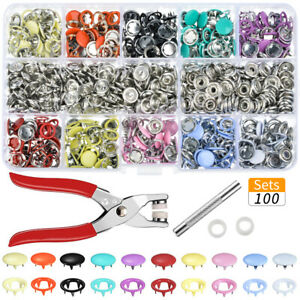 1Set Metal Sewing Snap Hollow Buttons Prong Press Studs Fasteners Plier Tools