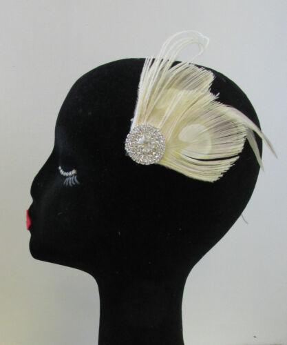 Ivory /& Silver Rhinestone Peacock Feather Fascinator Hair Clip Vintage 1920s U59