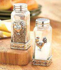 Rooster Salt and Pepper Shaker Set Glass and Silver Metal Accents Large NEW