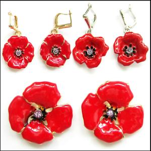 91b06ac76 2018 Beautiful Red Poppy Flower Earrings Woman's Faction Jewellery ...