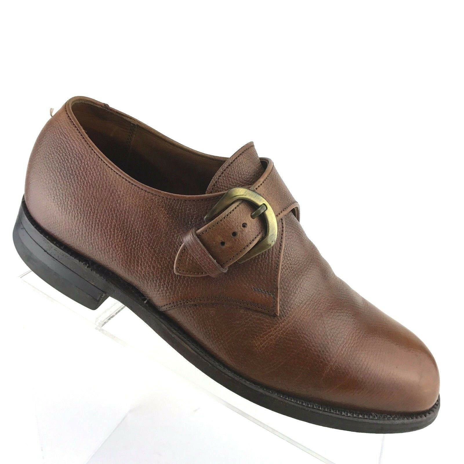 FootJoy Brown Pelle Monk Strap Buckle Pebble Grain Uomo Shoe SIZE 7.5 E/EEE