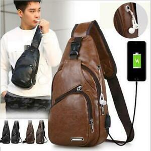 Mens-Leather-Shoulder-Bag-Sling-Chest-Pack-Sports-Crossbody-Handbag-USB-Charging