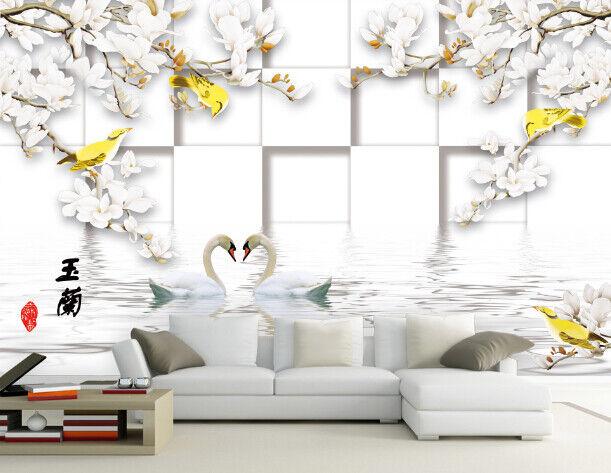 3D Magnolienblume Schwan 864 Tapete Wandgemälde Tapete Tapeten Bild Familie DE