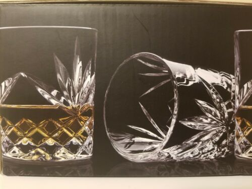 4 Shannon by Godinger Double Old Fashioned Whiskey Cut Crystal Glasses NEW