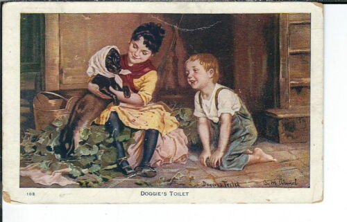 AX187 Doggie's Toilet, Artist Signed M. Winch, 19071915 Golden Age Postcard