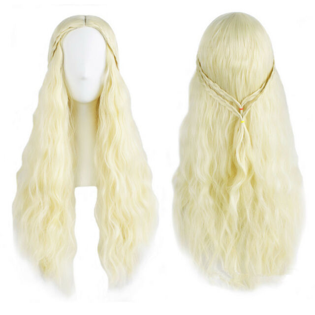 70cm Long Cosplay A Song of Ice and Fire Daenerys Targaryen Wigs Party Hair Wigs