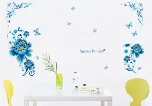 Blumen-Schmetterlinge-Wandtattoo-Wandsticker-Blume-Wandaufkleber-Deko-Sticker