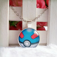 Great Ball Pokeball Pokemon Pendant Tibet silver Cabochon Glass Chain Necklace