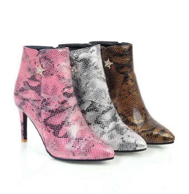 Womens pointy toe stilettos high heel  print leather party ankle boots plus