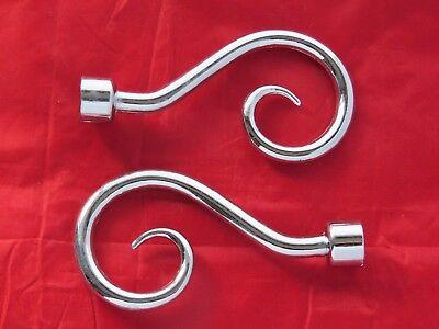 1 Coppia Tenda Pole Ornamenti. Cromo. In Metallo. Truffatore. Per 15mm Palo. Gratis P + P-