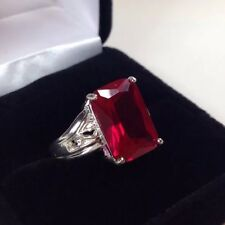 BEAUTIFUL 8ct Emerald Cut Ruby Ring Sterling Silver Floral Filagree Size 8 NWT