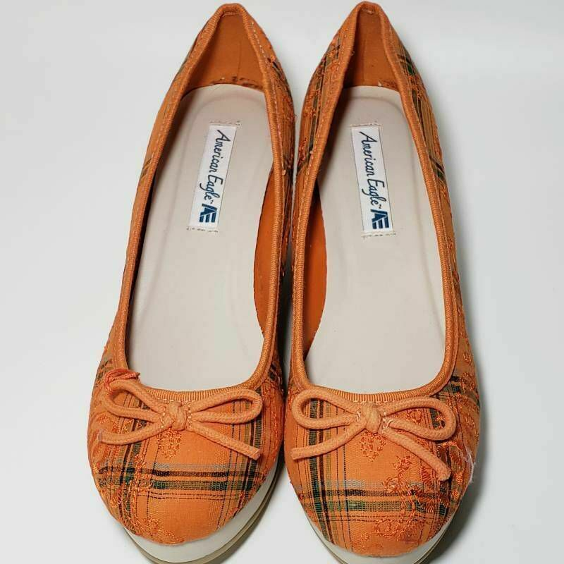American Eagle Womens Pump Wedge Heels Shoes Orange Plaid Embroidered Bow 9