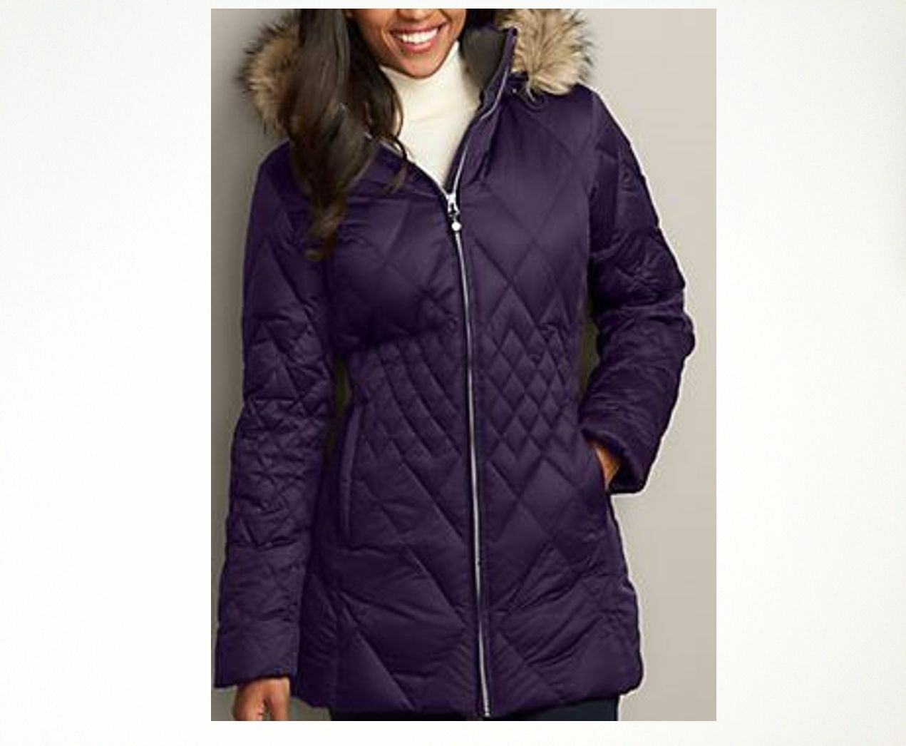 NEW Eddie Bauer Womens Slope Side Down Parka StormRepel Faux Fur Hooded