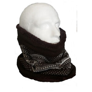 Reversible Fleece Knitted Fairisle Neck Tube Scarf Face Mask Brown ... c1efaaf4387