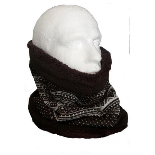 Reversible Fleece Knitted Fairisle Neck Tube Scarf Face Mask Brown Cream Snood