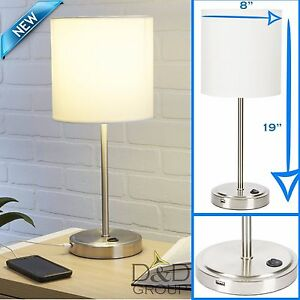 White Stick Lamp With USB Charging Port Bedroom Home Decor Desk ...