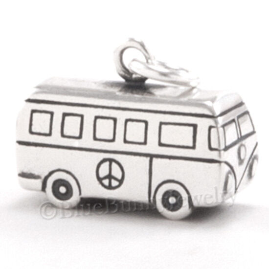 925 Sterling Silver Volkswagen Van Hippie Peace 60/'s NEW VW Bus Charm Necklace