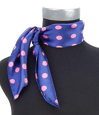 Tuch blau rosa Punkte Rockabilly by Ella Jonte kleines Tuch Seide Polyester