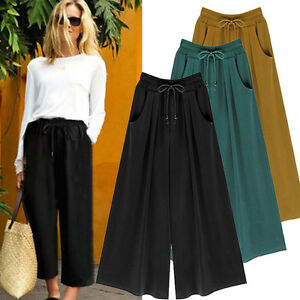 Women-039-s-High-Elastic-Waist-Wide-Leg-Casual-Cropped-Pants-Loose-Culottes-Trousers