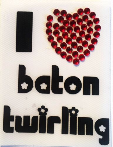 BATON TWIRLING CELL PHONE VINYL STICKERS I HEART TWIRLING TWIRLER GREAT GIFT
