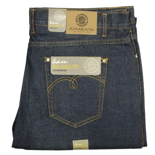 Da Uomo Big King Size Kam Jeans Gamba Dritta in colore Blu Scuro Tutte le Taglie 40-58