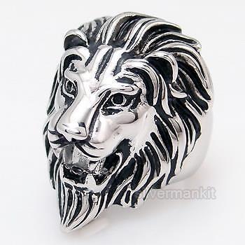 STUNNING Men's Lion Stainless Steel King Ring Size 9, 10, 11, 12, 13, 14