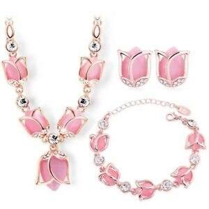 CRYSTAL-ROSE-necklace-bracelet-and-earrings-in-pink-gold-and-crystals-16-INCH