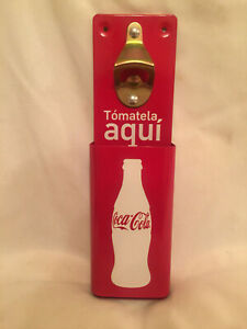Coca-Cola Wall Mount Bottle Opener and Cap Catcher Green Red BRAND NEW