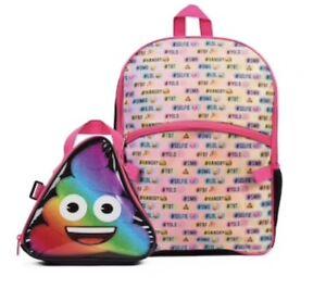 b5f7b4bd06b9 Image is loading Kids-Rainbow-Emoji-Backpack-amp-Lunch-Box-Set