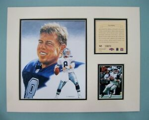 Dallas Cowboys TROY AIKMAN 1995 NFL Football 11x14 MATTED Kelly Russell Print