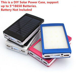 Bright Led Outdoor Travel Dual Usb Solar Mobile Phone Power Bank Case Charger Diy Kit Power Source Batteries