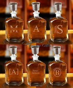 Personalized-GLASS-WHISKEY-DECANTER-Decorative-Bar-Liquor-Bottle-Groomsman-Gift