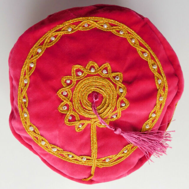 Smoking hat thinking cap Pink Tassel Oriental stage mens party costume gift NEW