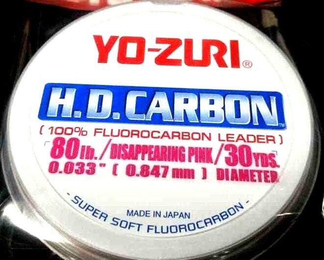 Yo-Zuri HD Carbon Flugoldcarbon Leader 80 lb 30 yds x 1 disappearing pink spool