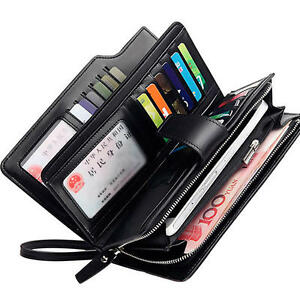 Men business long wallet credit card organizer wallet 21 card image is loading men business long wallet credit card organizer wallet reheart Images