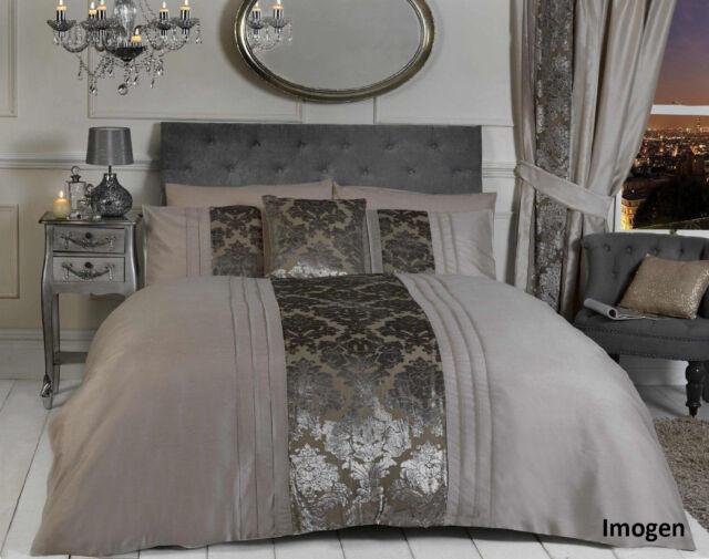 Belle Maison Imogen Beige Natural Linen Luxury Damask Duvet Cover